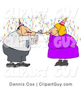 Clip Art of Two Business People Partying with Wine, Streamers, and Blowers on New Year's Eve by Djart