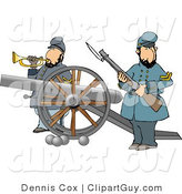 Clip Art of Two Civil War Soldiers Holding a Loaded Rifle and Playing a Bugler Horn Beside a Cannon on the Battlefield by Djart