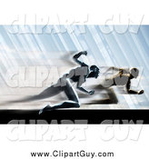 March 3rd, 2014: Clip Art of Two Competitive Rival Men Sprinting by Tonis Pan