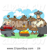 Clip Art of Two Male Ranchers Heating Branding Irons in a Campfire Beside Their Cattle by Djart