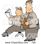Clip Art of Two Male Security Guards Reading a Newspaper While Guarding Something by Djart