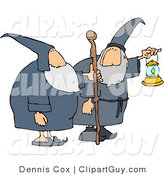 Clip Art of Two Male Wizards, One's Holding a Lantern and the Other Is Holding a Walking Stick by Djart