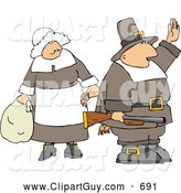 Clip Art of Two Pilgrims - Man and Woman by Djart