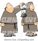 Clip Art of Two Religious Monks in Brown with a Lantern at Night by Djart