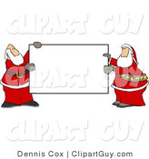 Clip Art of Two Santa Claus Men Holding a Blank Sign by Djart
