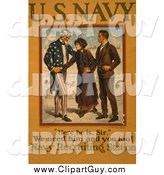 Clip Art of Uncle Sam Recruiting Young Men to the Military by JVPD