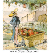 Clip Art of Uncle Sam Waiting for Apples Fall in His Basket by JVPD
