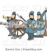 Clip Art of Union Soldier Men Armed with Rifles and a Canon by Djart