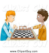 Clip Art of White and Black Teen Boys Playing Chess by BNP Design Studio