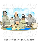 Clip Art of White Sheep and Family Watching Their Son Get Baptised by a Religious Christian Figure by Djart