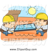 Clip Art of Worker Men Installing Roof Solar Panels by BNP Design Studio