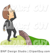 Vector Clip Art of a Man Looking over a Fence to Greener Pastures - Royalty Free by BNP Design Studio