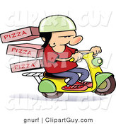 Vector Clip Art of a Pizza Delivery Scooter Guy - Royalty Free by Gnurf
