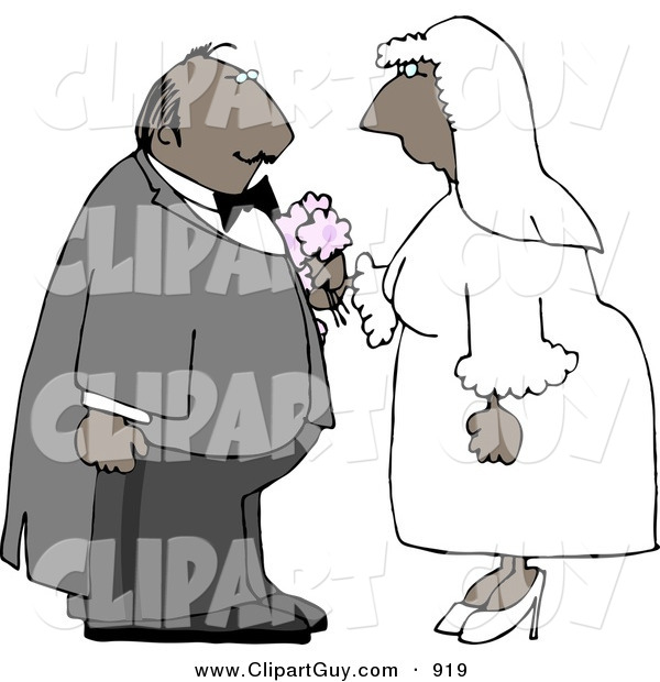 Americana Vector Clip Art of an African American Male and Female Couple Getting Hitched