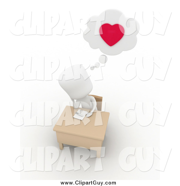 Clip Art of a 3d White Man Writing a Love Letter