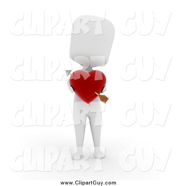Clip Art of a 3d White Person Holding a Heart with Cupids Arrow