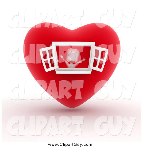 Clip Art of a 3d White Person in a Heart House