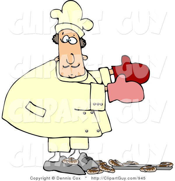 Clip Art of a Baker Accidentally Dropping a Baking Pan of Baked Cinnamon Rolls on the Floor