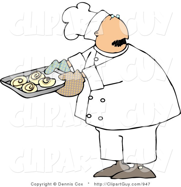 Clip Art of a Baker or Cook Looking over His Shoulder While Holding a Tray of Raw Cinnamon Rolls