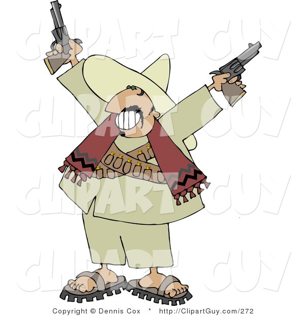 Clip Art of a Bandito Pointing Pistols in the Air with a Grin on His Face