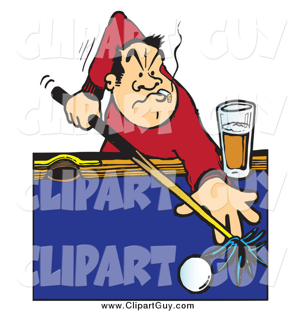 Clip Art of a Billiards Player Aiming a Cue Stick on a Pool Table, Smoking and Drinking
