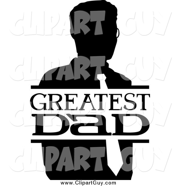 Clip Art of a Black and White Greatest Dad Sign and Man