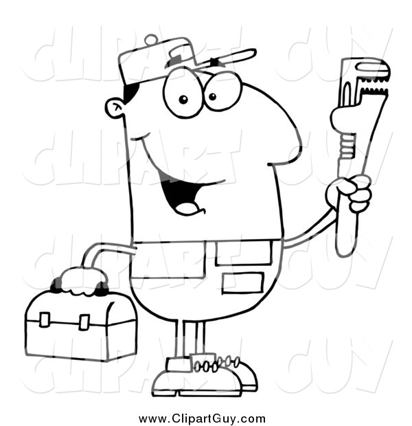 Clip Art of a Black and White Happy Male Plumber Holding a Toolbox and a Monkey Wrench