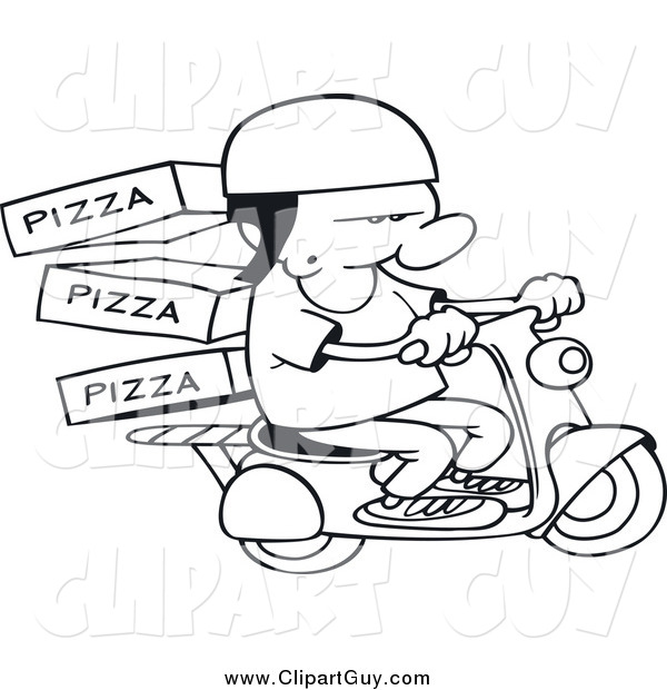 Clip Art of a Black and White Pizza Delivery Boy on a Scooter