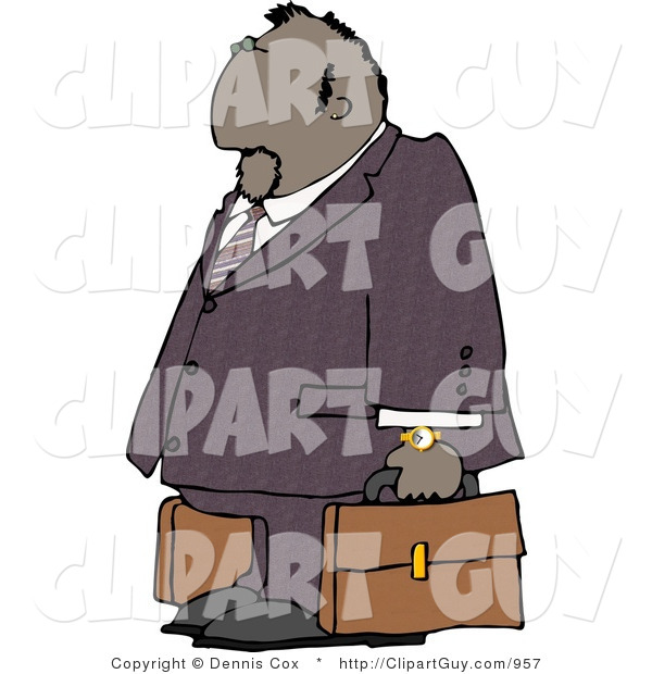 Clip Art of a Black Businessman Traveling with a Couple Briefcases