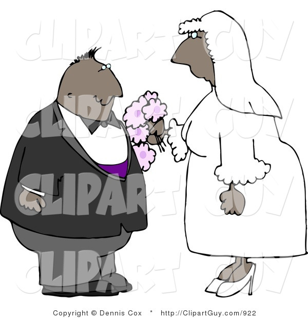 Clip Art of a Black Couple Getting Married