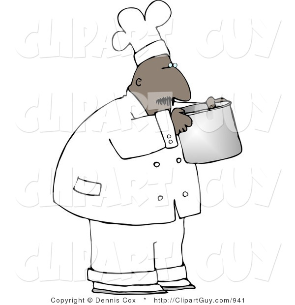 Clip Art of a Black Male Chef Smelling Food in a Cooking Pot