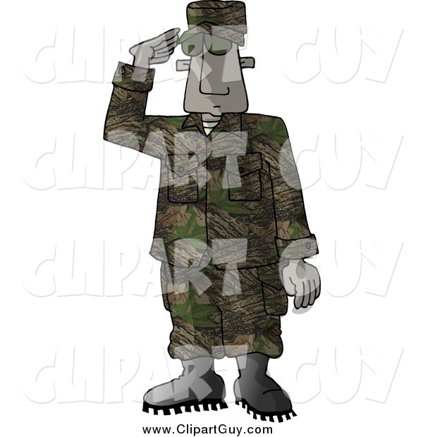Clip Art of a Black Male U.S. Marine Delivering a Salute