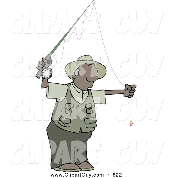 Clip Art of a Black Man Fly Fisherman Getting Ready to Go Fishing