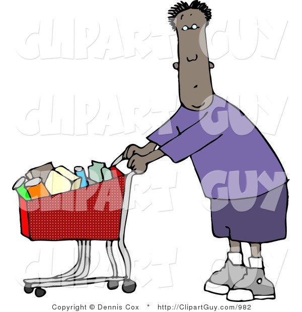 Clip Art of a Black Man Shopping at His Local Food Store for Groceries