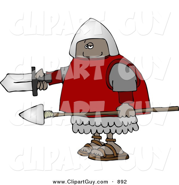 Clip Art of a Black Roman Soldier Armed with a Spear and Sword