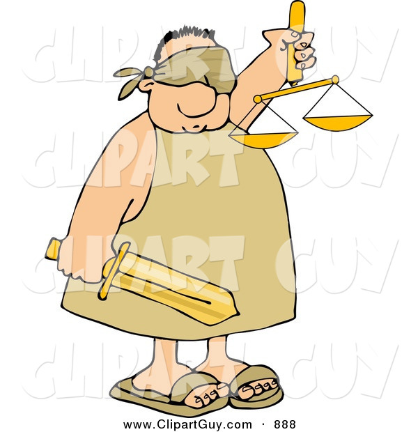 Clip Art of a Blind Justice Man
