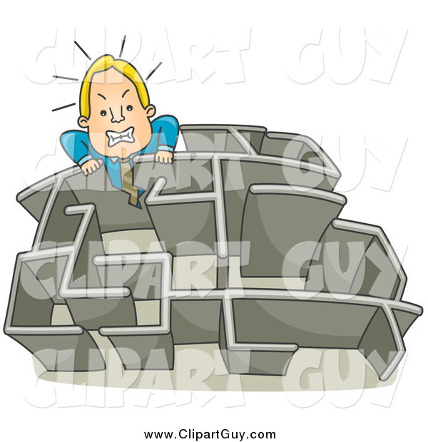 Clip Art of a Blond White Angry Businessman Climbing over a Wall in a Maze