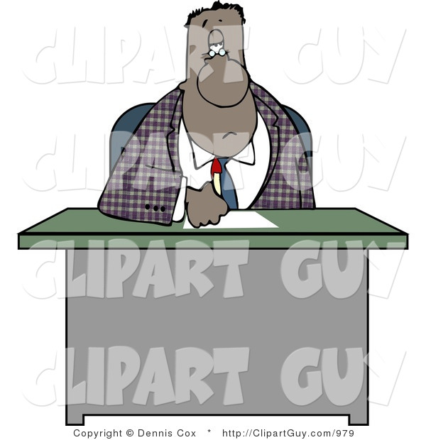 Clip Art of a Bored Black Businessman Writing on Papers at His Office Desk