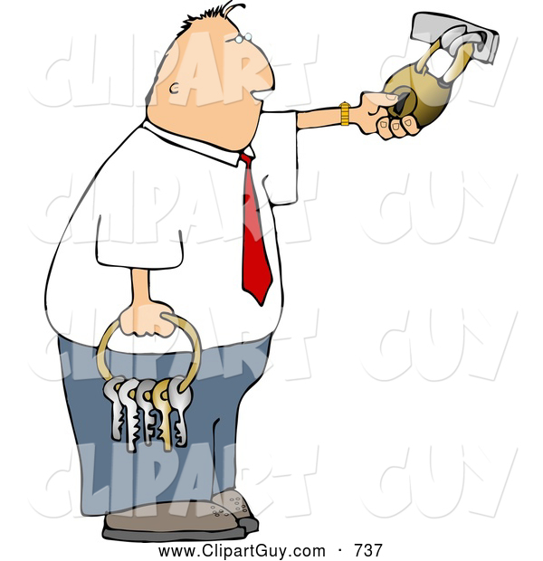 Clip Art of a Bored Businessman Holding a Ring of Keys and Unlocking a Padlock