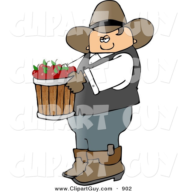 Clip Art of a Bored Cowboy Farmer Carrying a Bucket of Freshly Picked Red Apples