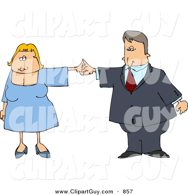 Clip Art of a Business Couple Dancing Together on White