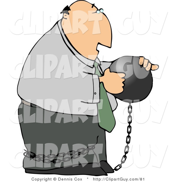 Clip Art of a Businessman Criminal Wearing a Ball and Chain and Looking at the Ball