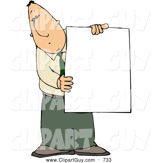 Clip Art of a Businessman Holding a Blank Poster Board Sign, on White