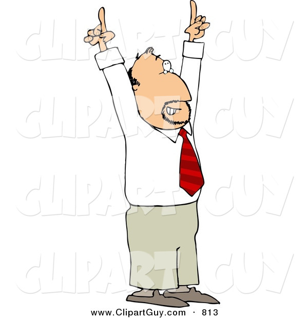 Clip Art of a Businessman Pointing Hands and Fingers up to the Ceiling