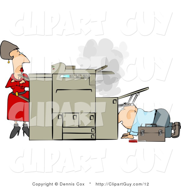 Clip Art of a Businesswoman Watching a Handyman Fix Her Broken Photocopy Machine