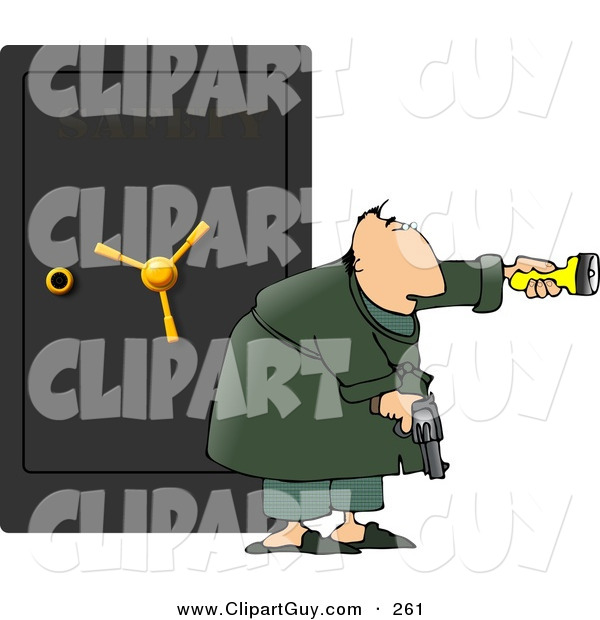 Clip Art of a Caucasian Armed Man Guarding a Safe Full of Family Jewels