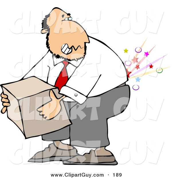Clip Art of a Caucasian Businessman Cracking and Injuring His Lower Back While Lifting a Heavy Box the Wrong Way