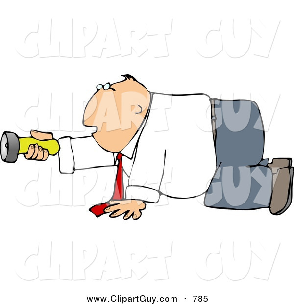 Clip Art of a Caucasian Businessman Crawling on the Ground While Pointing a Flashlight in the Darkness