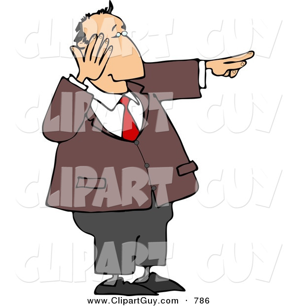 Clip Art of a Caucasian Businessman Laughing While Pointing His Finger at Something