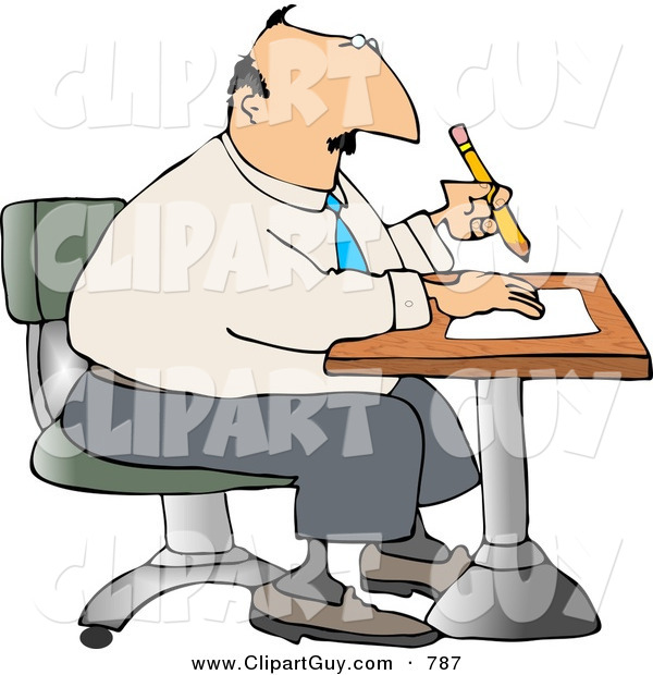 Clip Art of a Caucasian Businessman Sitting at a Desk and Writing on Paper with Pencil